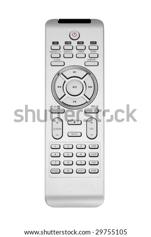 Gray remote control isolated on white background
