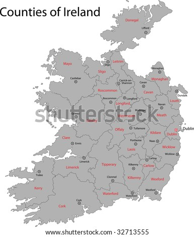 Gray Republic of Ireland map with regions and main cities - stock photo