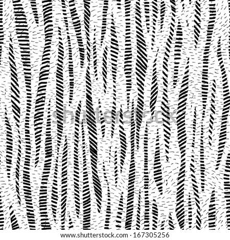 Gray scale strips hand drawn seamless pattern - stock photo
