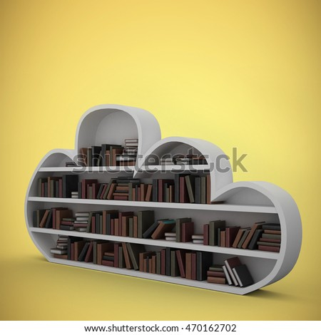 Gray shelf with various books against yellow vignette