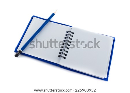 gray sketch book on white background. - stock photo
