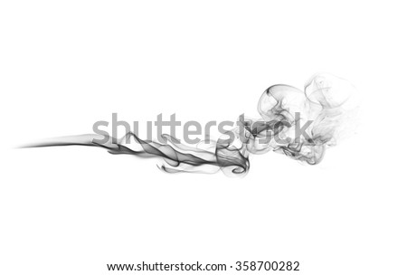 gray smoke trail on white background