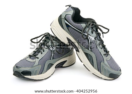 gray sneaker isolated on white background - stock photo