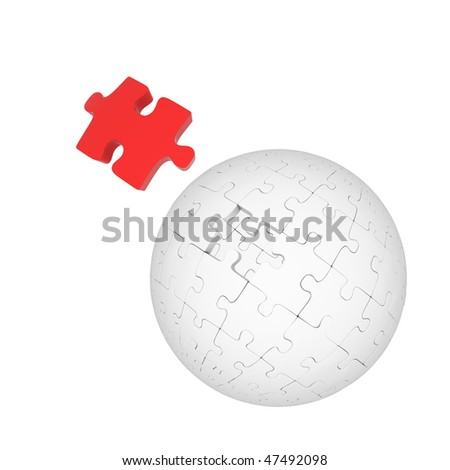 Gray sphere of puzzles and red element on white background