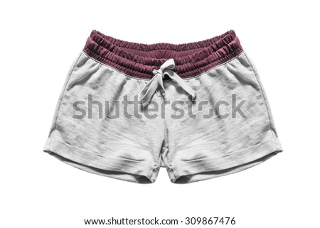 Gray sport shorts isolated over white - stock photo