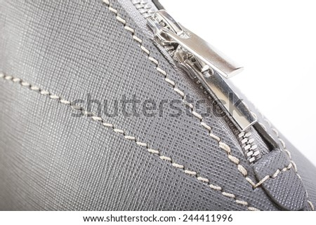 Gray Stitched Macro Detail Of Woman Handbag - stock photo