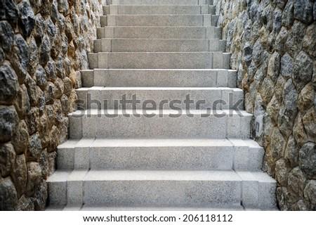 Gray stone staircase - stock photo