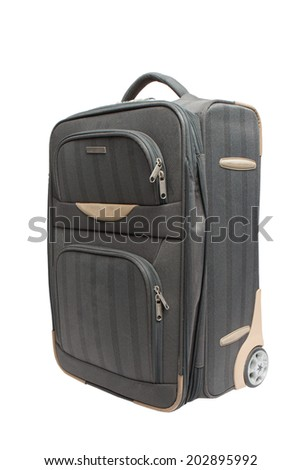 gray suitcase for travel with combination lock isolate on white background - stock photo