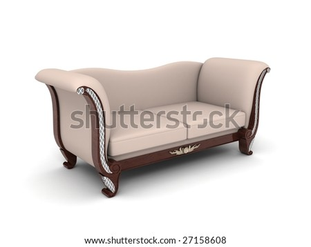 gray sumptuous sofa isolated with white background.