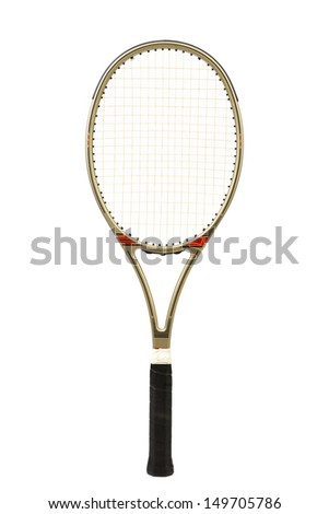 Gray tennis racket - stock photo