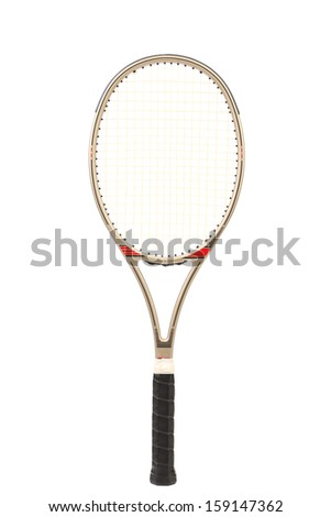 Gray tennis racket. Isolated on a white background. - stock photo