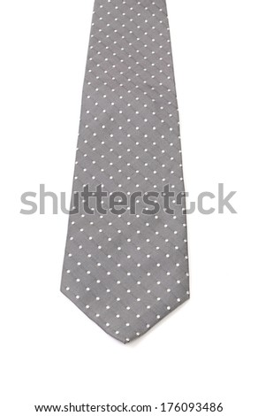 Gray tie with white speck. Isolated on a white background - stock photo