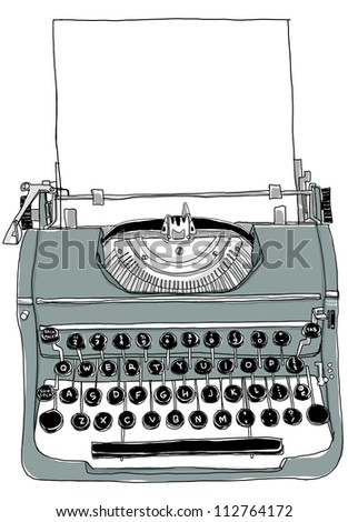 Gray Typewriter old - stock photo