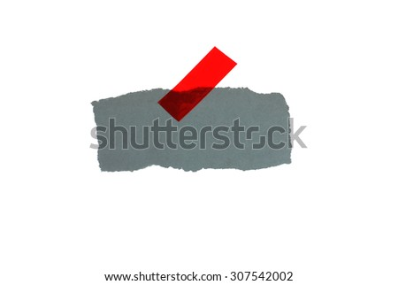 Gray uprooted paper with red adhesive tape - stock photo