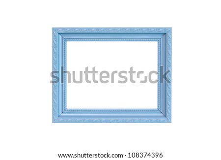 Gray Vintage picture frame, wood plated, white background, clipping path included - stock photo