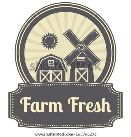 Gray Vintage Style Farm Fresh Icon, Label or Sticker Set Isolated on White Background - stock photo