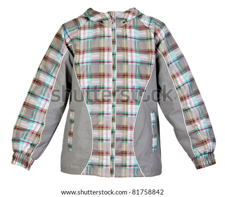 Gray warm jacket isolated on a white background