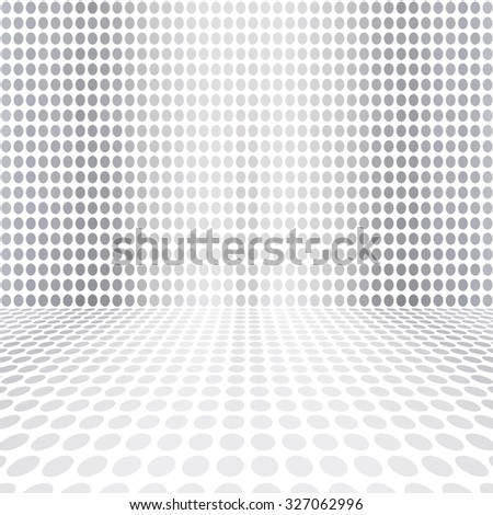 Gray White Dot Empty Perspective Digital Space Wall Room - stock photo