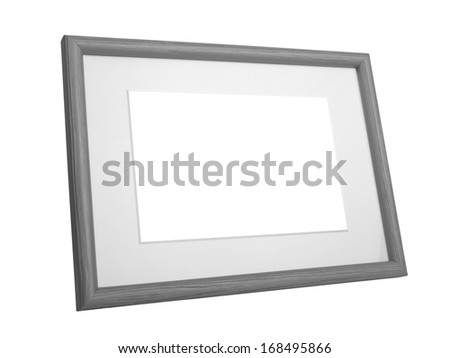 gray wooden frame isolated on white background