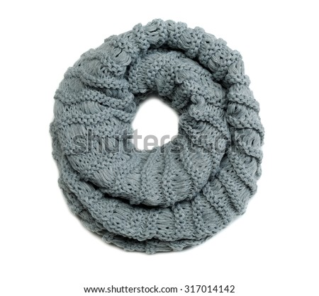 Gray wool scarf knitting circle. Isolate on white. - stock photo