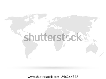 Gray World Map - stock photo