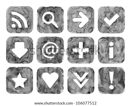 Grayscale color watercolor web buttons set with basic internet sign on white background. Aquarelle created in hand made technique. - stock photo