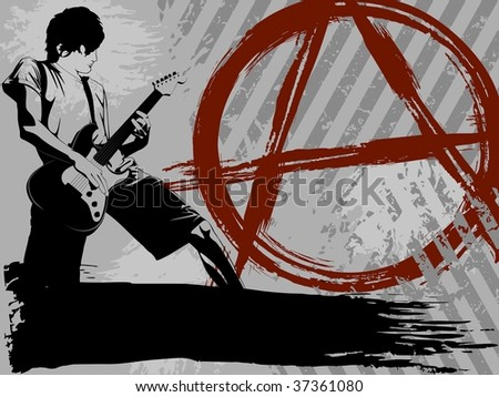 Grayscale Punk Rock background (JPG); a vector version is also available - stock photo