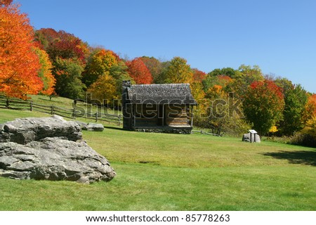 Grayson Highland State Park Spencer Cabin in Autumn Horizontal With Copy Space - stock photo