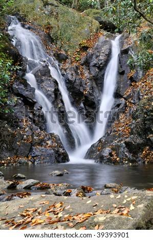 Grayson Highlands State Park, Virginia, Autumn Cabin Creek Falls Vertical - stock photo