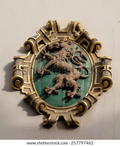 GRAZ, AUSTRIA - JANUARY 10, 2015: Facade coat of arms on the Landhaus historic center listed as World Heritage by UNESCO in Graz, Styria, Austria on January 10, 2015. - stock photo