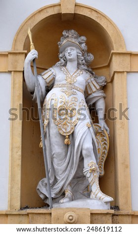 GRAZ, AUSTRIA - JANUARY 10, 2015: Minerva, Roman goddess of wisdom and sponsor of arts, trade, and strategy, Arsenal (Zeughaus) historic center listed as World Heritage by UNESCO in Graz - stock photo