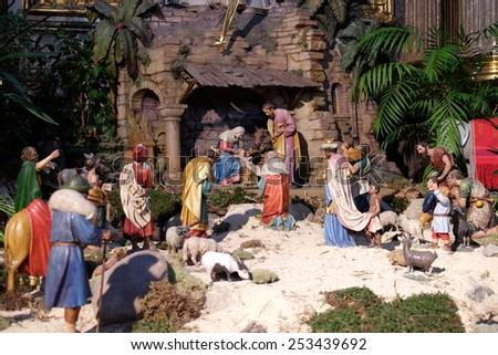 GRAZ, AUSTRIA - JANUARY 10, 2015: Nativity scene, creche, or crib, birth of Jesus in Graz Cathedral dedicated to Saint Giles in Graz, Styria, Austria on January 10, 2015. - stock photo