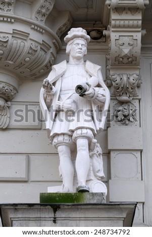 GRAZ, AUSTRIA - JANUARY 10, 2015: Statue of Art, allegorical representation, detail of Rathaus Town Hall, Graz, Styria, Austria on January 10, 2015. - stock photo