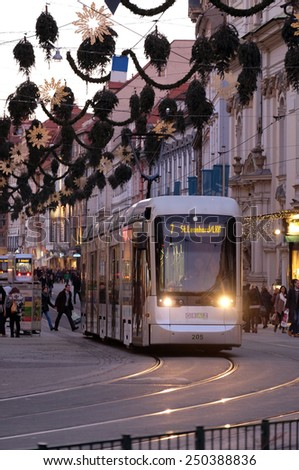 GRAZ, AUSTRIA - JANUARY 10, 2015: Tramway in the downtown in Graz, Austria. Graz is the capital of federal state of Styria and the second largest city in Austria on January 10, 2015. - stock photo