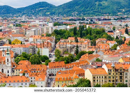 GRAZ, AUSTRIA - JUN 27, 2014: Panoramic view of the historic part  of Graz, Austria. Old town of Graz is the UNESCO World heritage