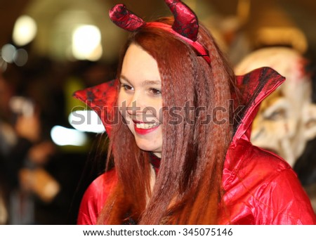 GRAZ, AUSTRIA-NOVEMBER 29: Unidentified person costumed in evil at the Krampuslauf on Novemvber 29, 2015 in Graz. Krampuslauf is a traditional parade with pre-Christian roots.  - stock photo