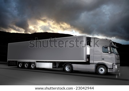 grease semi truck - stock photo