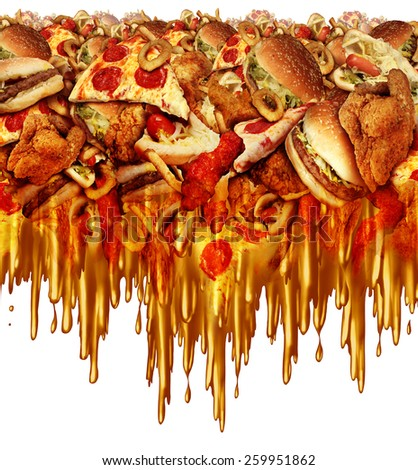 Greasy diet and unhealthy fast food concept with liquid dripping grease as onion rings burger and hot dogs and fried chicken french fries as a symbol of unhealthy dieting nutrition. - stock photo