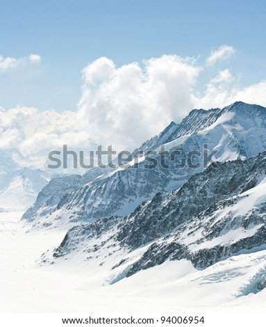 Great Aletsch Glacier Jungfrau region,Part of Swiss Alps Alpine Snow Mountain Landscape at Switzerland. - stock photo