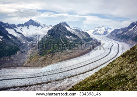 Great Aletsch Glacier. Switzerland, eastern Bernese Alps in the Swiss canton of Valais