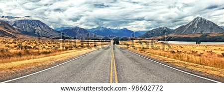Great Alpine highway.  Arthurs Pass. New Zealand - stock photo
