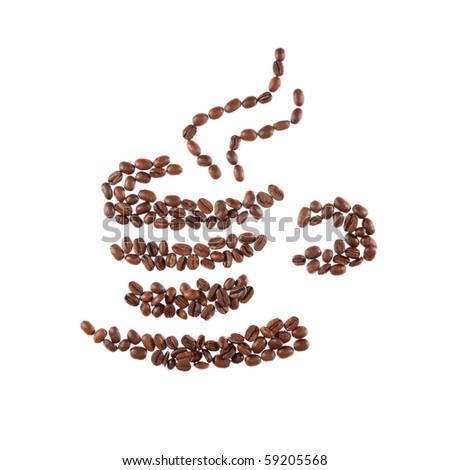 Great aromatic coffee beans cup. - stock photo