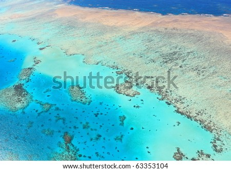 Great Barrier Reef aerial view, unesco world heritage in Queensland, Australia - stock photo