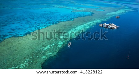 Great Barrier reef coral reef channel Whitsunday passage aerial view