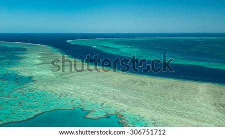 Great Barrier Reef - Helicopter view - stock photo