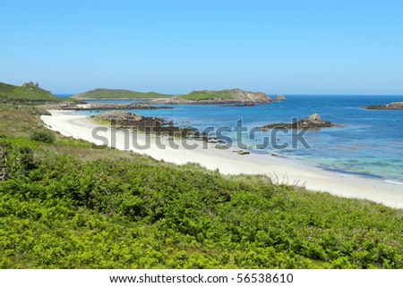 Great bay and little bay beaches, St. Martin's Isles of Scilly. - stock photo