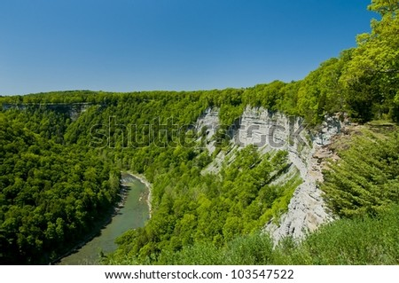 Great bend over-look at Letchworth State park - stock photo