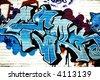 Great blue graffiti tag - stock photo