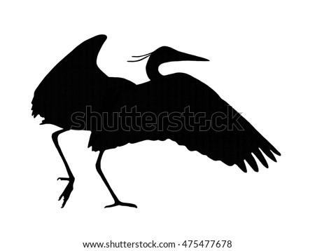 Egret Silhouette Flying