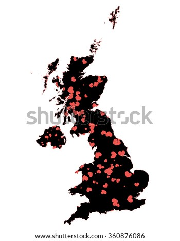 Great Britain abstract map with hearts - stock photo
